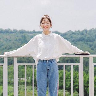 2019夏新款纯棉韩版学生外穿文艺白色休闲长袖衬衣宽松上衣女衬衫品牌
