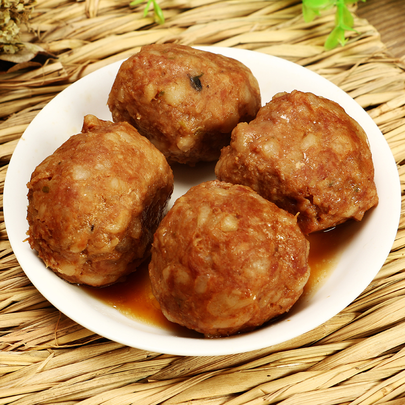 扬州特产口缘红烧狮子头蟹黄四喜丸子蟹粉肉圆丸熟食小吃舌尖美食