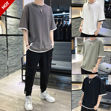 Summer 2019 New Fashion Men's Short Sleeve T-shirt Trendy Loose Cotton Half Sleeve Men's Summer Dress