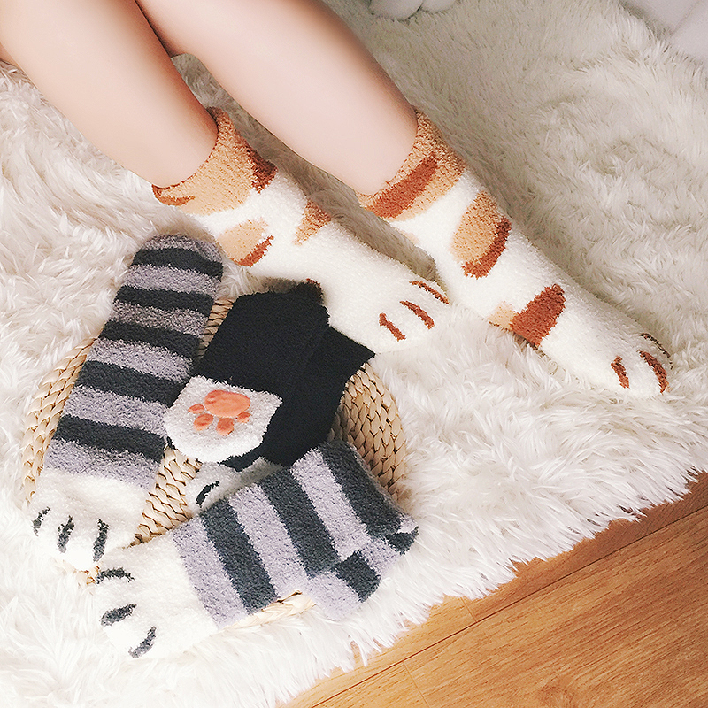 Sleeping socks children sleeping socks moon Plush autumn and winter floor adult home carpet cat claw antiskid coral Plush