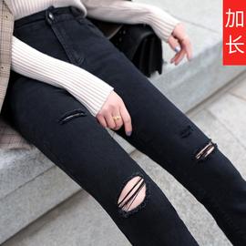 破洞牛仔裤女秋装2019年新款修身显瘦高腰加长黑色裤子紧身小脚裤图片