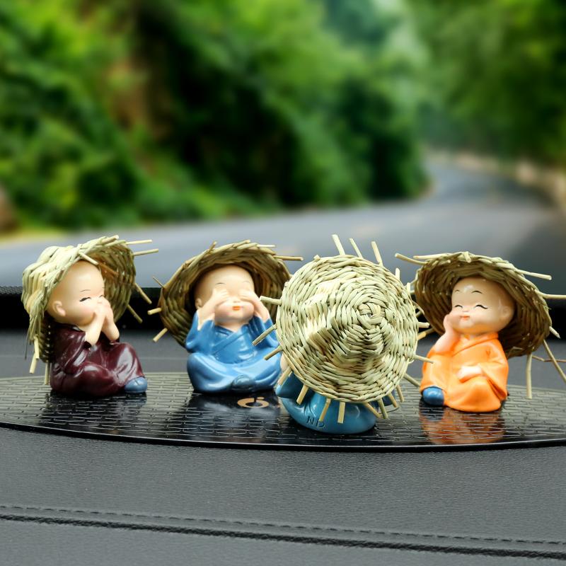 汽車擺件四不小和尚可愛公仔保平安車飾車載擺件車上裝飾飾品