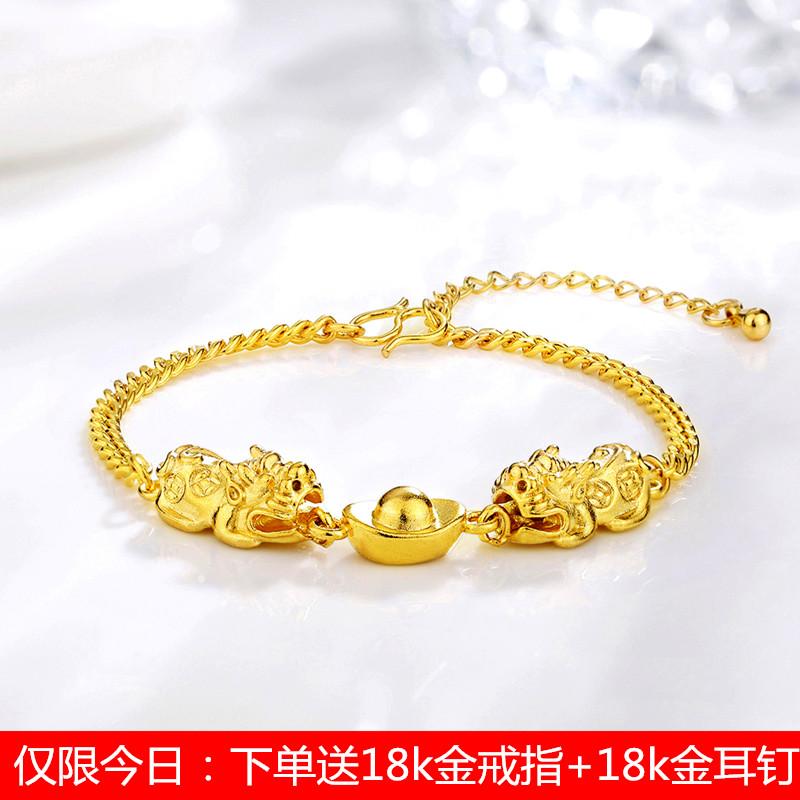 香港正品999足金黄金貔貅手链 黄金天鹅 金猪手镯女款送耳钉戒指