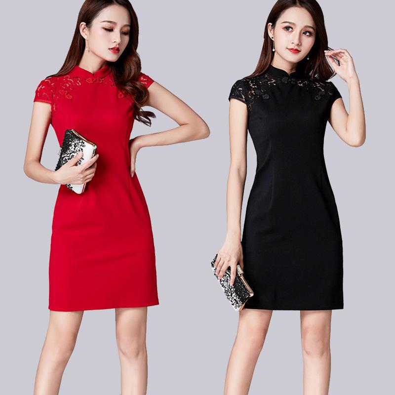 年会旗袍2019春夏季新款女中国风修身短袖年轻蕾丝改良旗袍连衣裙