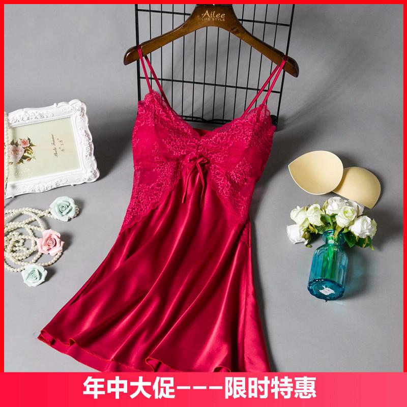 新品吊带睡衣女春夏天性感蕾丝睡裙带胸垫冰丝极度诱惑丝绸家居服