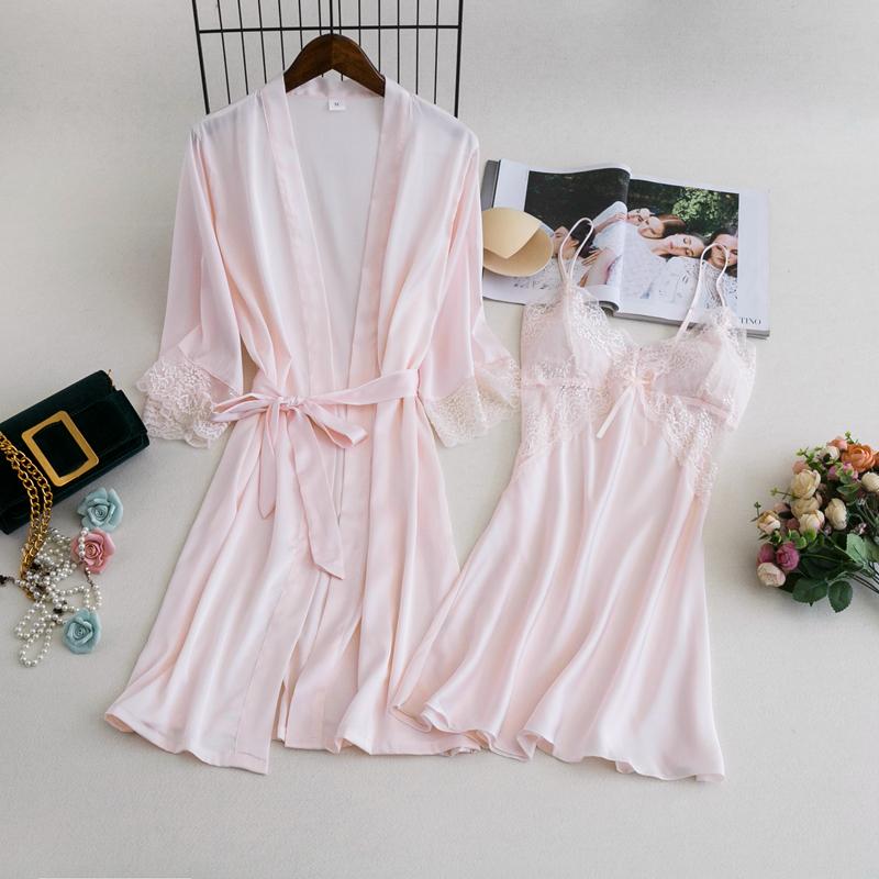 睡袍女薄款韩版睡衣春秋冰丝绸性感浴袍两件套吊带睡裙带胸垫晨袍