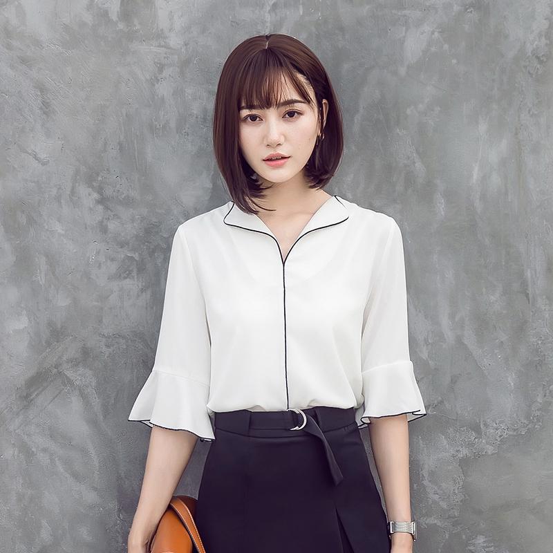 10-20新券v领短袖雪纺女夏韩版宽松士白衬衫