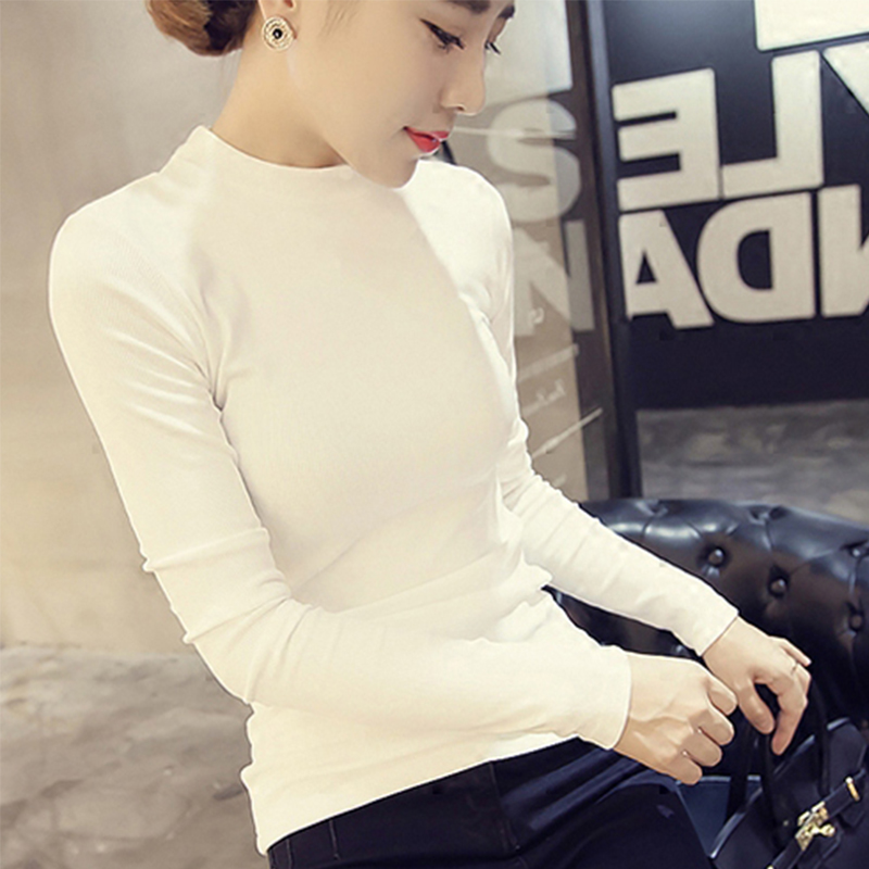 White half high collar bottomed shirt womens long sleeve T-shirt versatile autumn and winter solid color slim fitting autumn small round neck top