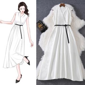 白色无袖棉麻女夏装2021新款连衣裙