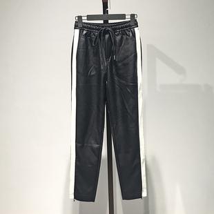 上品【鸟】韩版撞色显瘦运动束脚百搭休闲裤冬新品品牌折扣女装