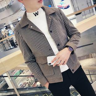 韩版 2021春秋夹克青年休闲外套男士 潮流社会小伙修身 加绒呢子上衣