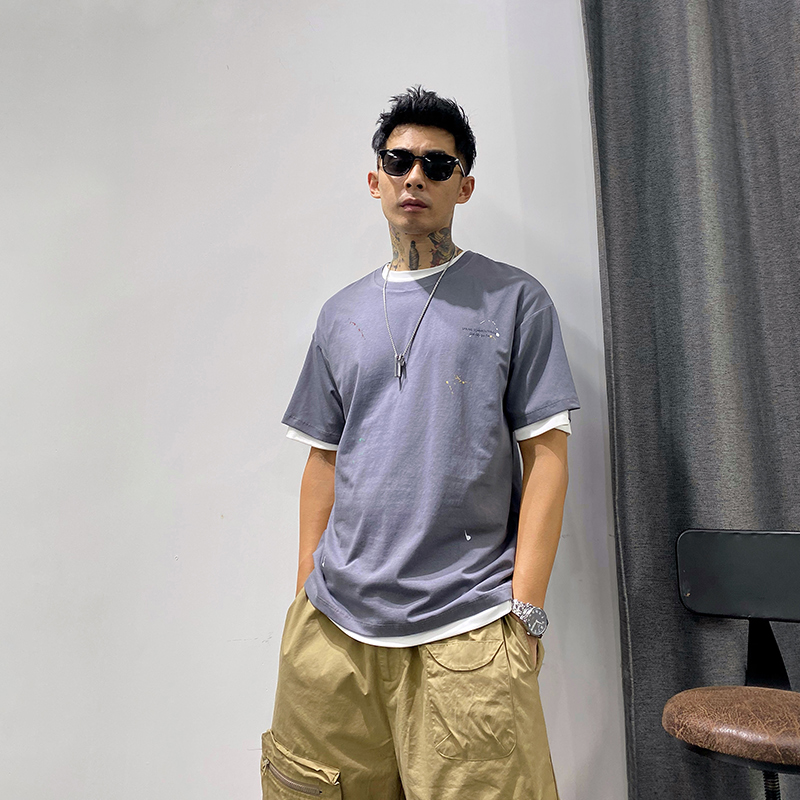 Seven seconds - Summer mens T-Shirt Top bottomed Shirt Short Sleeve loose half sleeve fashion solid color round neck T-shirt