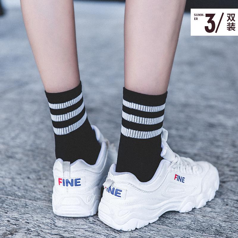 袜子女纯棉中筒袜秋季薄款韩版学院风春秋日系条纹潮运动长筒袜子