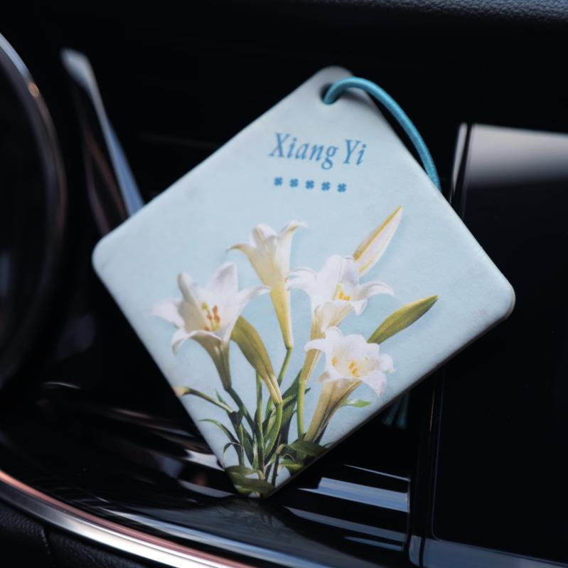 定制汽车香片香薰车载香水挂件百合薰衣草玫瑰茉莉味持久淡香卡片