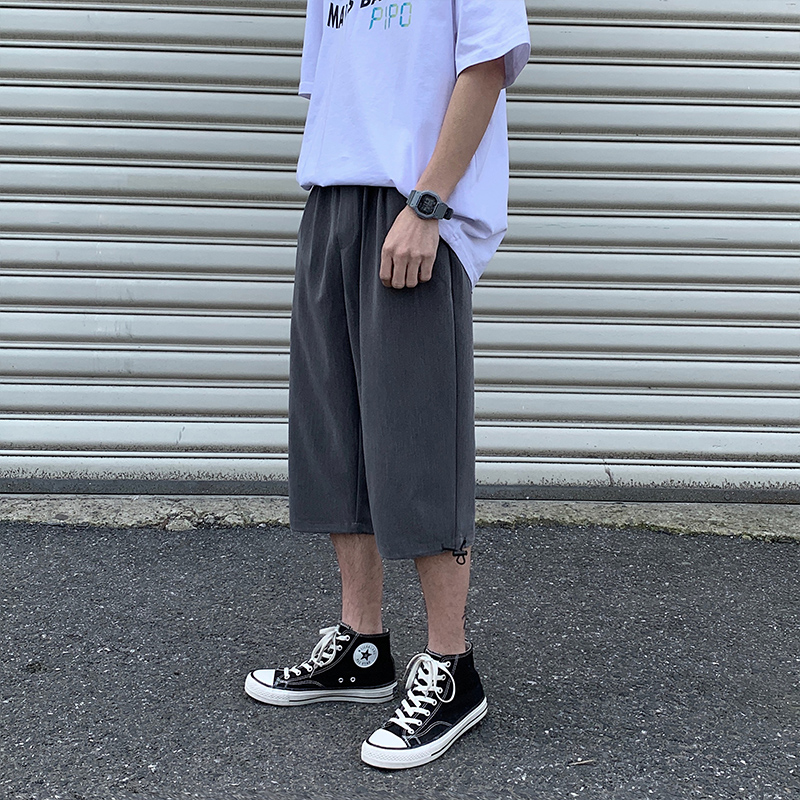 Summer suit and shorts mens loose straight tube fashion brand ins wear trend casual linen 7 points tied leg 7 points pants