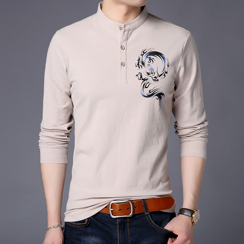 Mens long sleeve T-shirt with lining. Ice silk cotton body linen super thin standing collar spring sweater autumn clothes