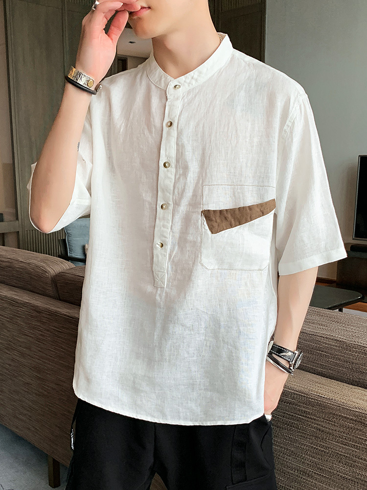 Linen Shirt Mens Hong Kong style, casual and versatile five point sleeve summer short sleeve half sleeve white shirt mens inch shirt trend