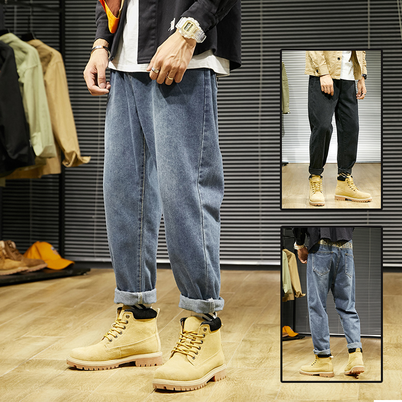 Jeans mens straight tube loose fashion brand with Martin boots spring 2020 all style trend wide leg nine point radish pants men
