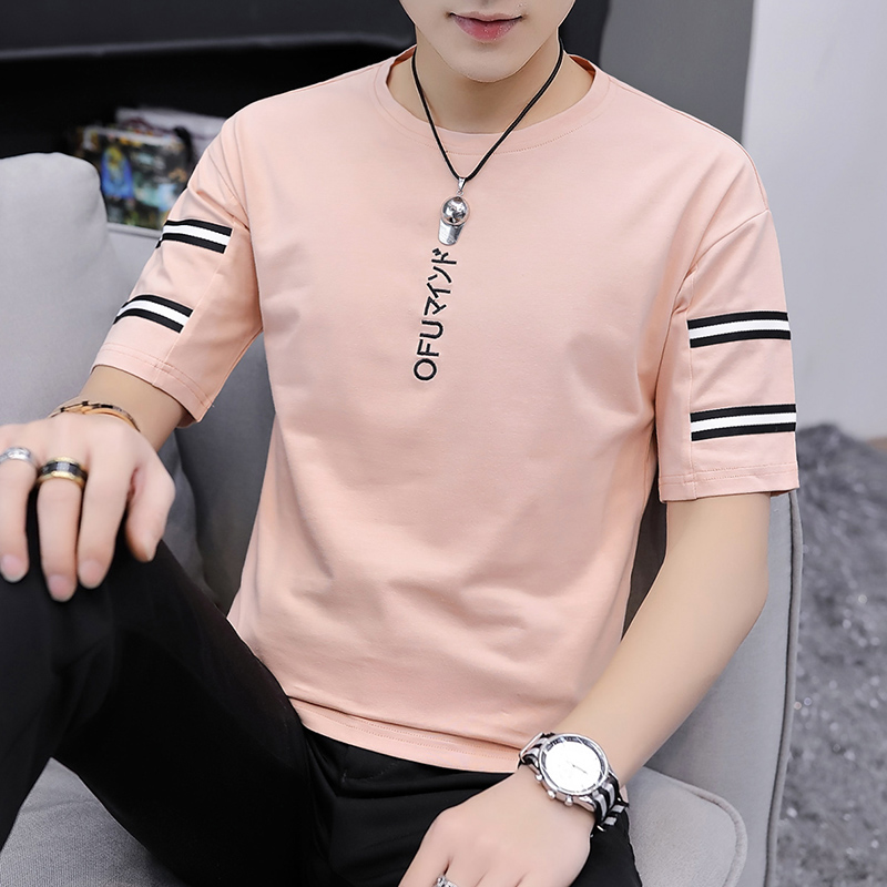Summer short sleeve mens t-shirt mens cotton loose T-shirt trend Korean 5-point sleeve top half sleeve students