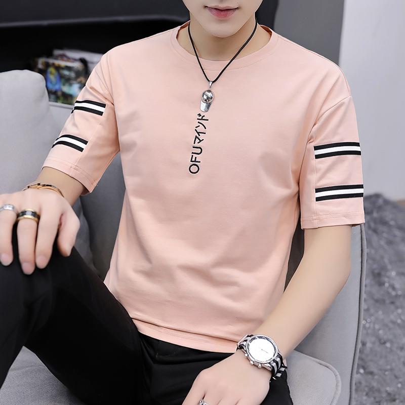 Summer short sleeve mens t-shirt mens cotton loose T-shirt trend Korean version 5-point sleeve upper garment half sleeve students