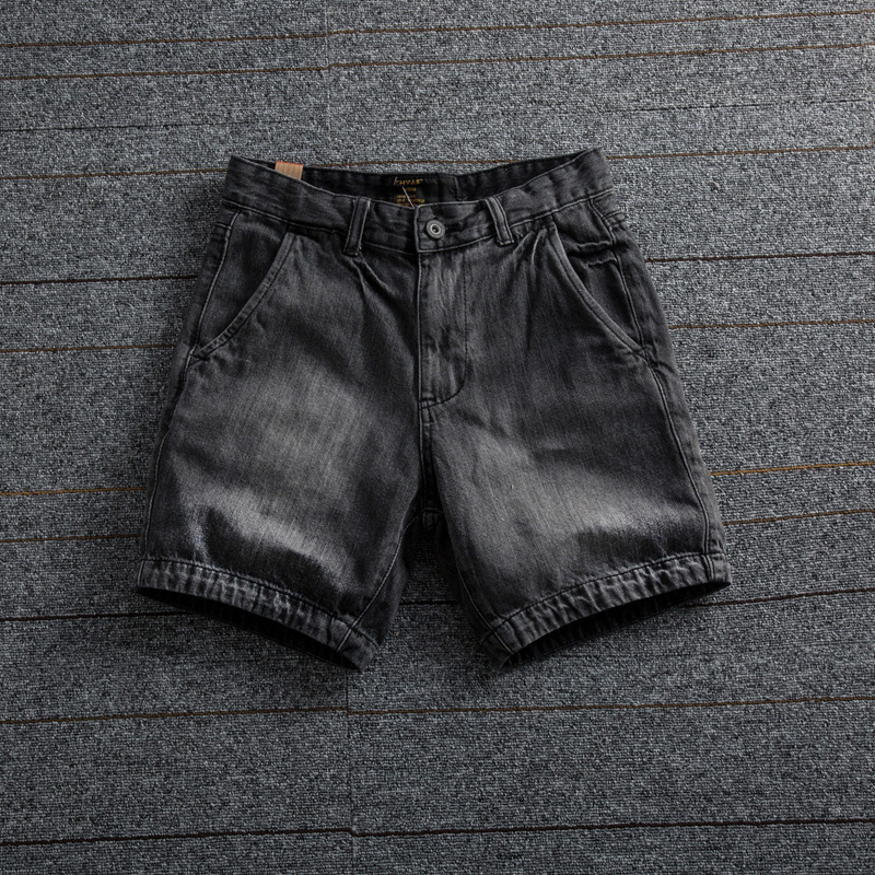 Denim shorts mens quarter pants summer Korean fashion brand washed slim cotton 3 / 4 Pants super short trend
