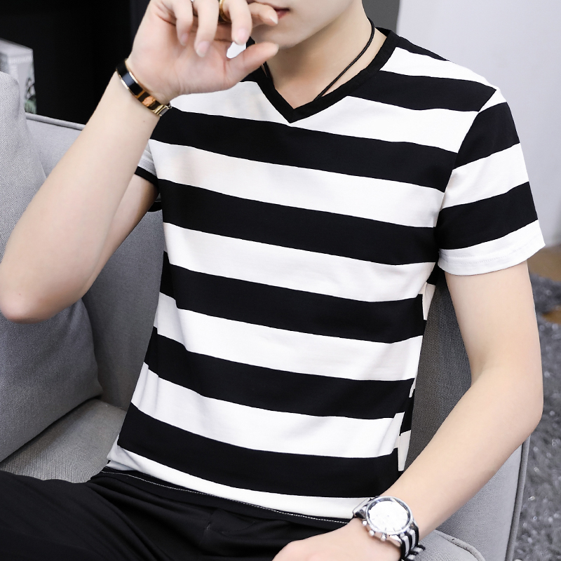 Mens short sleeve T-shirt black and white stripe V-neck summer cotton core collar half sleeve base shirt student T-Shirt Top trend