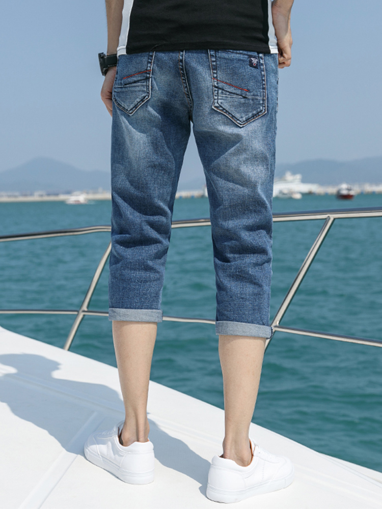 Summer 7.7% jeans mens six point summer pants slim fit Korean fashion casual 8.8% shorts thin pants versatile