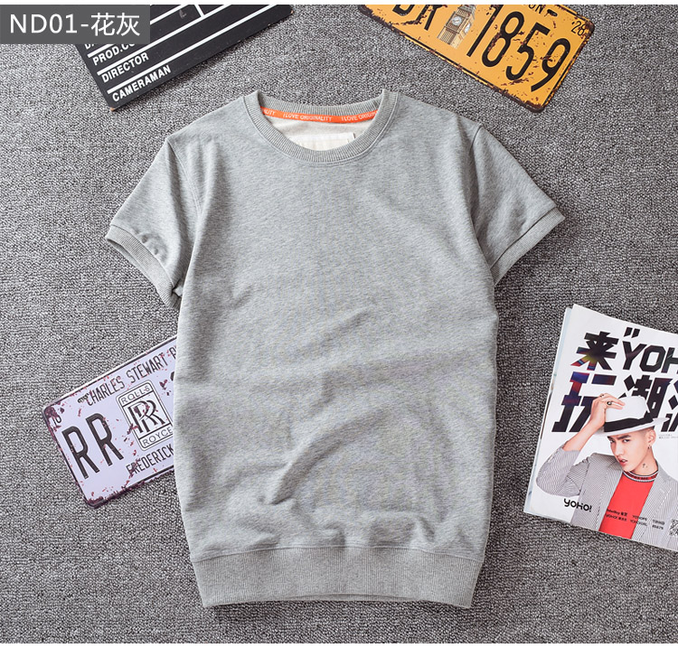 Thin solid color short sleeve t-shirt mens fashion brand closed sleeve loose large tripe short sleeve Terry sweater