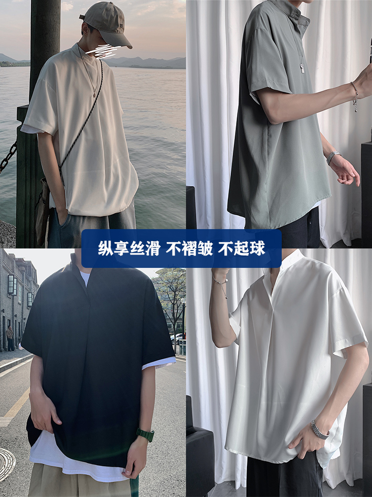 シフォンのシフォンのブラウスの男性の韓国版のゆったりした大きいサイズと太い半袖のシャツの立襟のカジュアルな上着の中国風の男装