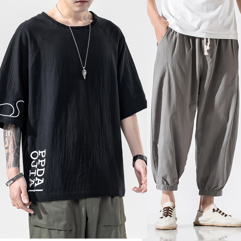 Summer mens summer mens summer cotton linen short sleeve t-shirt mens fashion brand mens wear with a set of cool casual suits