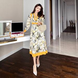 米美儿大码女装胖mm2020秋装名媛法式洋气高档印花气质显瘦连衣裙
