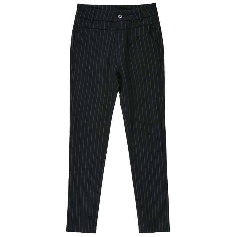 条纹女裤夏季薄款九分中老年妈妈裤高腰直筒宽松外穿显瘦长裤大码