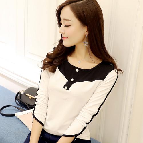 2020秋季新款纯棉长袖T恤女 韩版修身黑白拼色上衣纽扣打底衫