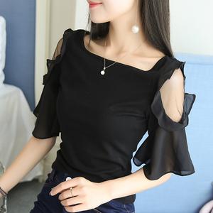 夏季新款短袖T恤女2020 黑色上衣修身露肩一字领锁骨打底衫显瘦潮