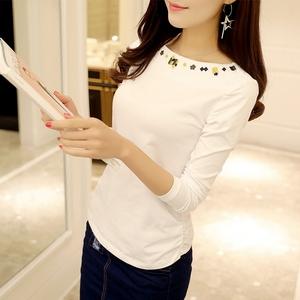 一字领纯棉T恤女春秋季女装新款 韩版修身长袖领边花朵刺绣打底衫