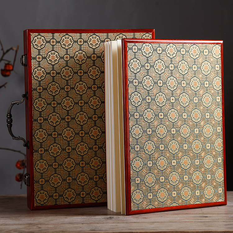 High grade mahogany rice paper album authentic pure leather gift calligraphy and painting album thickened blank rice paper book special package