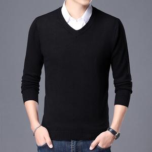 秋冬季男士毛衣青少年修身针织衫潮流韩版圆领打底衫男装线衣T