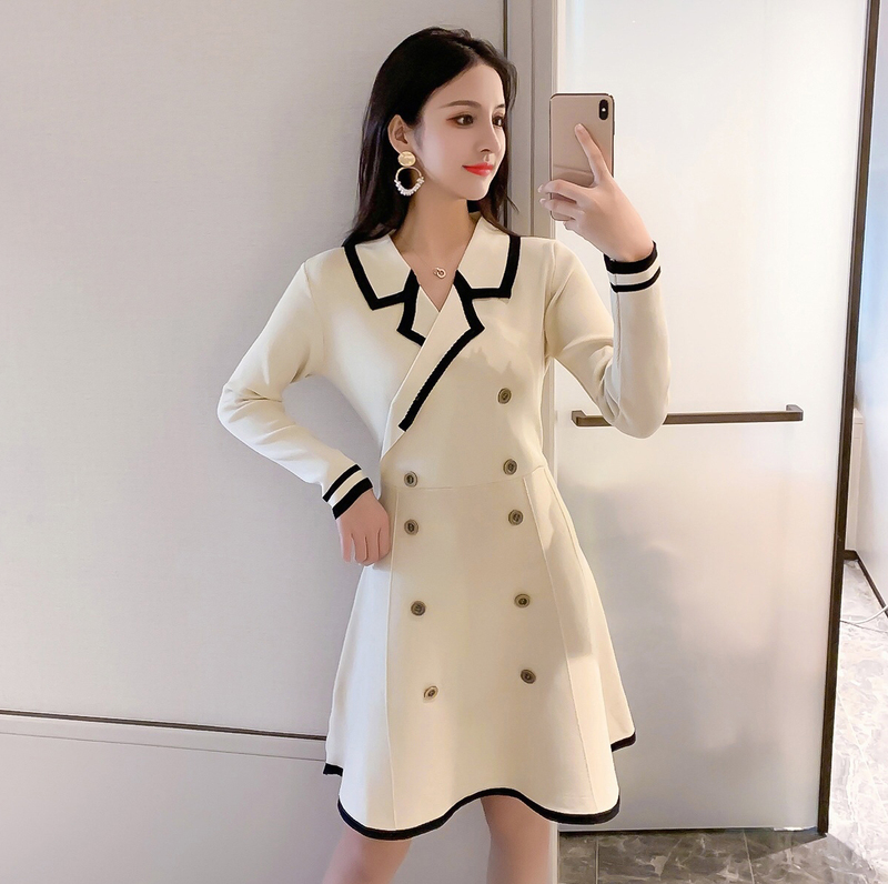 五折促销2019秋装韩版收腰显瘦小香风连衣裙
