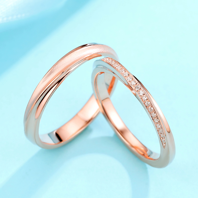 Permeo 18K Gold Diamond Ring lovers ring counter same diamond wedding ring womens ring mens ring authentic