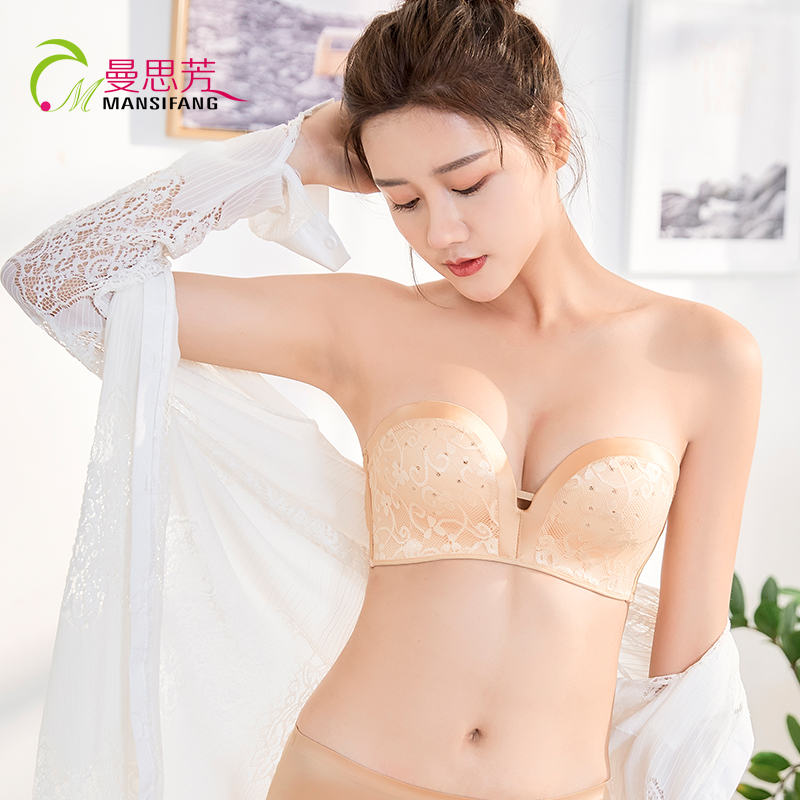 Strapless underwear gathered non slip upper support thickened small chest breathable non steel ring invisible bra Strapless summer