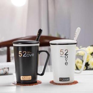 陶瓷杯子女學生野獸派馬克杯帶蓋勺咖啡杯情侶杯牛奶水杯辦公室早