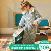睡袍女秋冬季三层夹棉加厚保暖睡衣珊瑚绒睡裙可爱甜美加长款浴袍