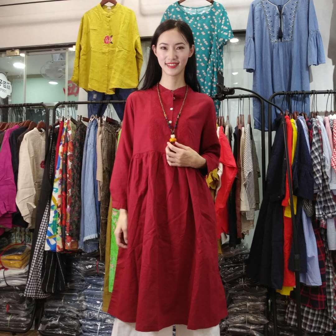 高品质女装长袖刺绣连衣裙  GGN2F090-SN0726006