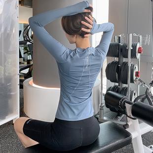 晨跑长袖 瑜伽 新款 瑜伽服女健身服紧身健身衣跑步速干运动上衣大码