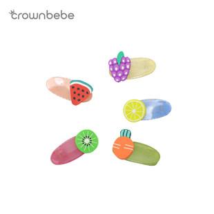 上海CROWNBEBE寶寶發夾水果發卡可愛西瓜檸檬彩色亞克力網紅發飾