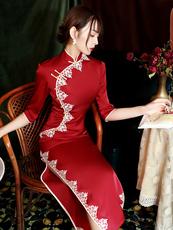 红色旗袍2020年新款气质优雅名媛长款女复古中国风改良版连衣裙冬