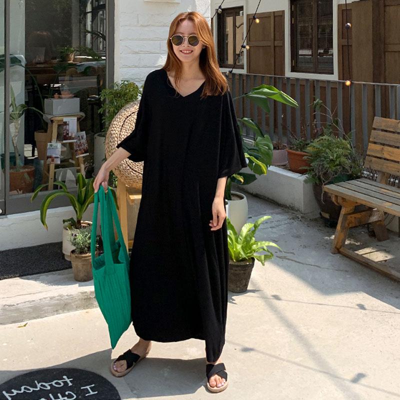夏季新款莫代尔棉T恤裙女韩版宽松显瘦长款V领连衣裙休闲过膝长裙