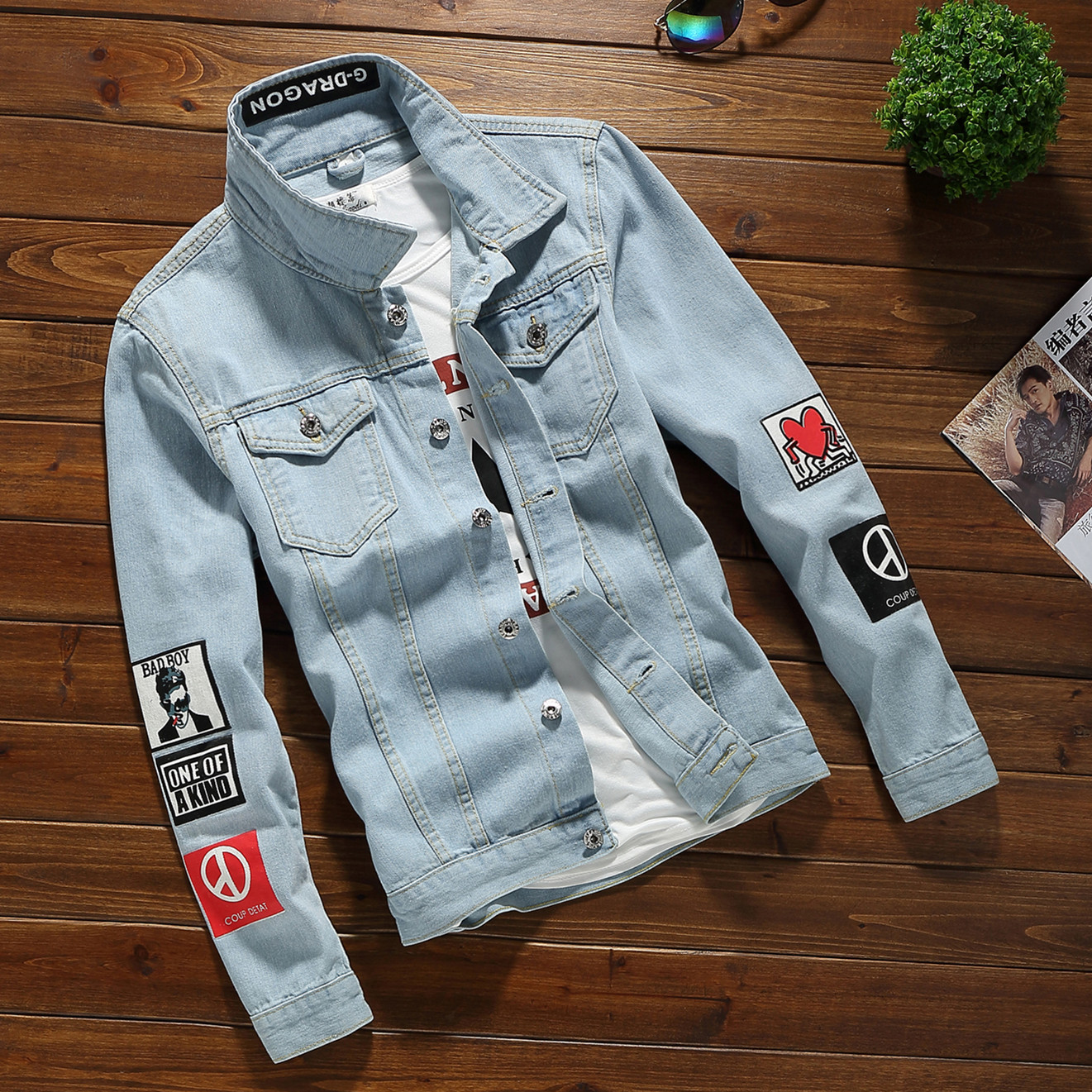 Fashion cowboy jacket youth old personalized jacket this years new trend jacket young people wear mens clothes