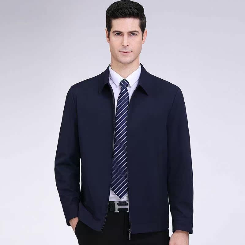 新款秋季男式中老年男士爸爸装夹克衫薄款翻领外套一件发货常规袖