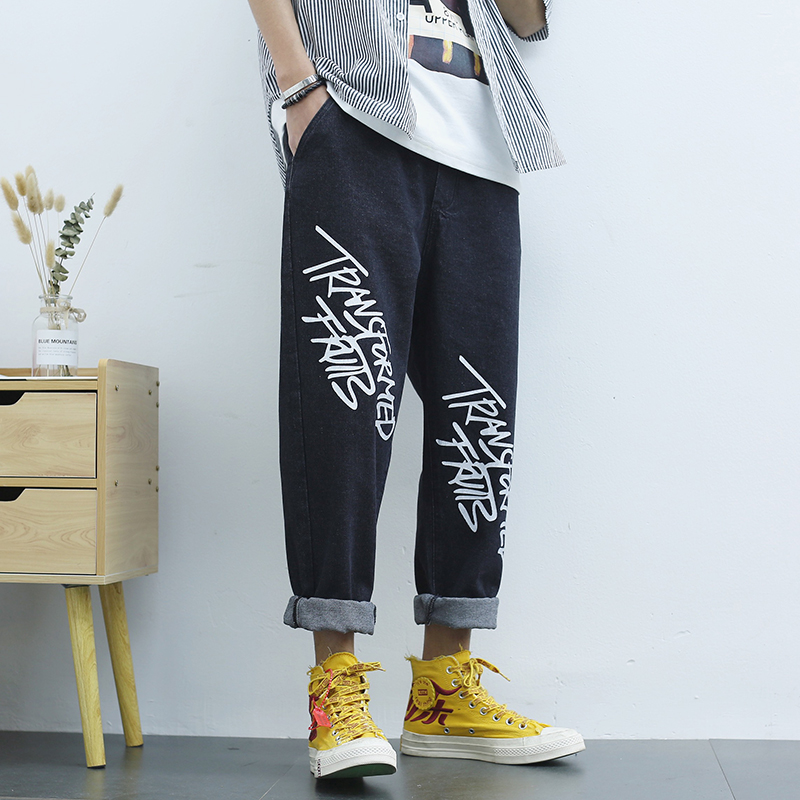 Jeans mens spring and summer Japanese loose printed straight tube trendy daddy pants casual pants trend Harlem Capris